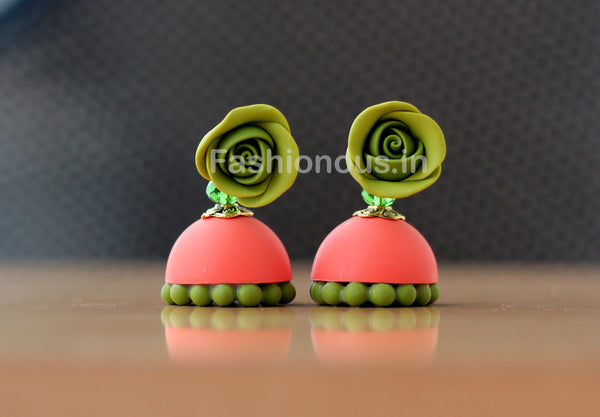 Olive Green Rose Floral Orange Jhumka-ZAPCJH-029