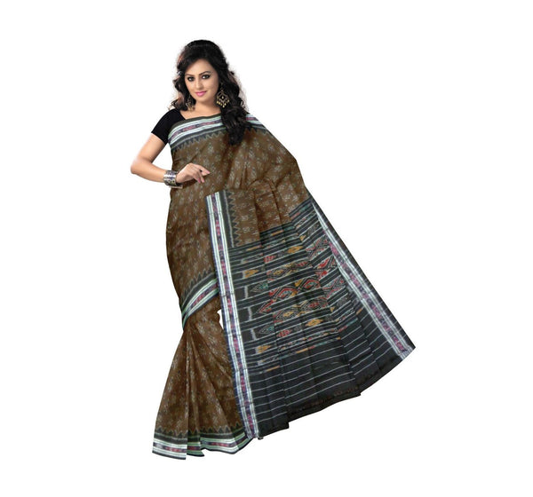 Olive Green with Black Pallu Handwoven Cotton Saree-OSS9056