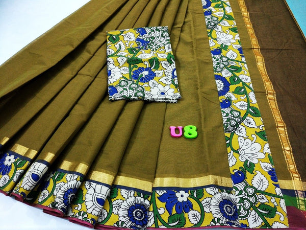 Olive Green with Kalamkari Blouse Kotta Mercerized Cotton Saree-SRE-820