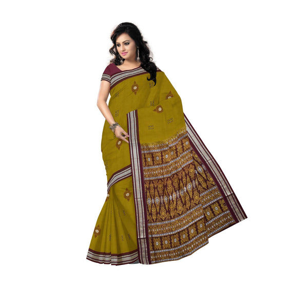 Olive Green with Maroon Handloom Cotton Saree-AJ0001202