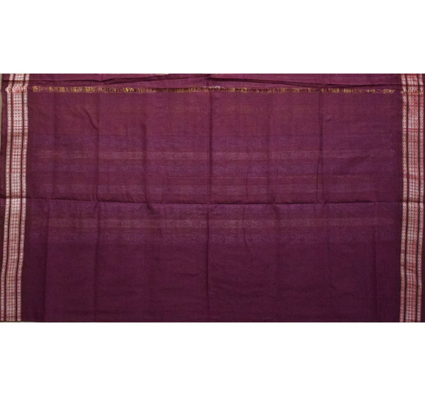 Olive Green with Maroon Handloom Cotton Saree