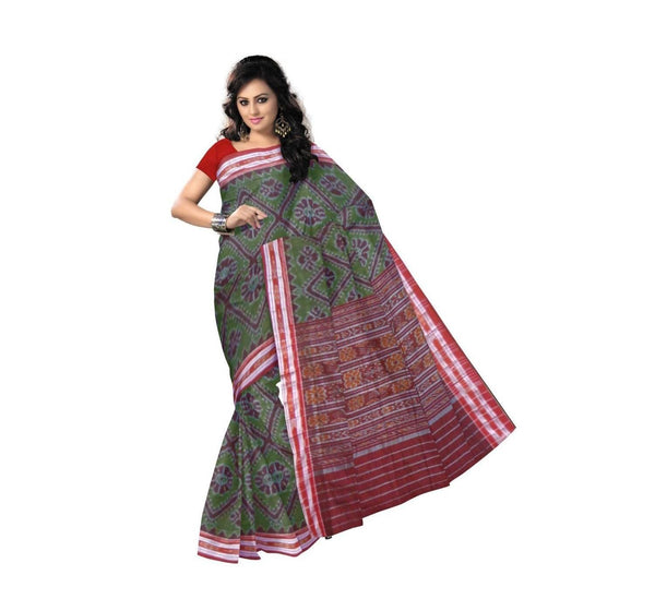 Olive Green with Maroon Handwoven Cotton Saree-OSS9057