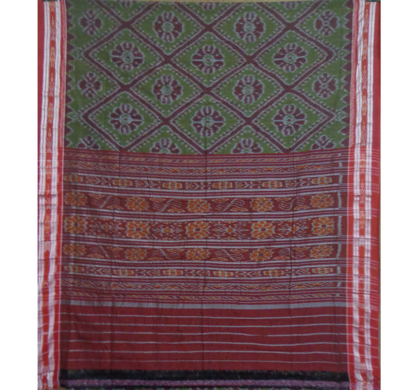 Olive Green with Maroon Handwoven Cotton Saree