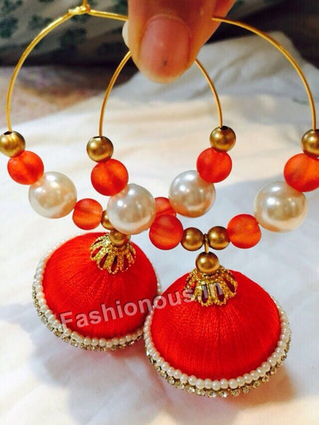 Orange Beaded Silk Thread Hoops