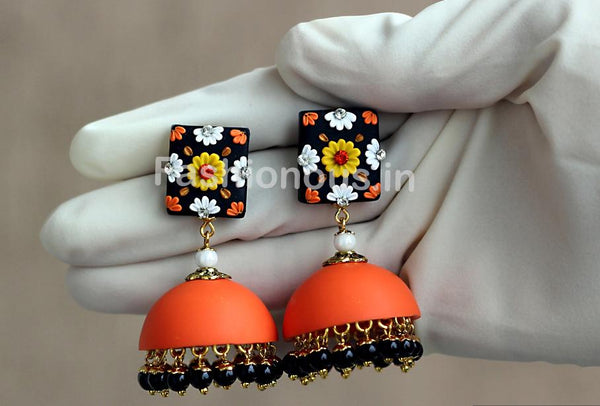 Orange Black Floral Jhumka-ZAPCJH-012