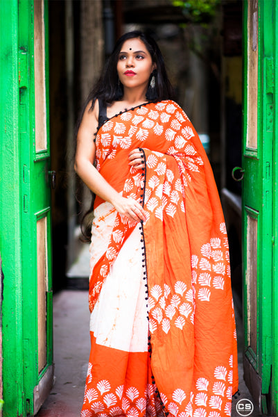 Orange Bliss Cotton Saree with contrast Black Pom-Pom Border-TCS042