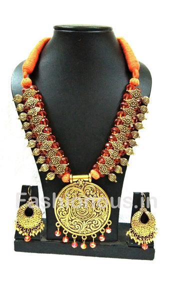 Orange Crystal With Golden Round Oxidized Pendant And Earrings-OXDJSW-020