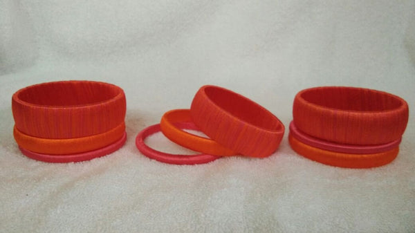 Orange Dual Color Fancy Wear Silk Thread Bangles-STBS-007