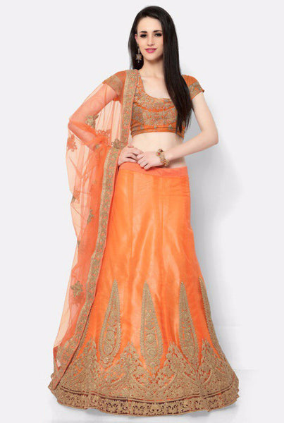 Orange Embroidered Bridal Lehenga