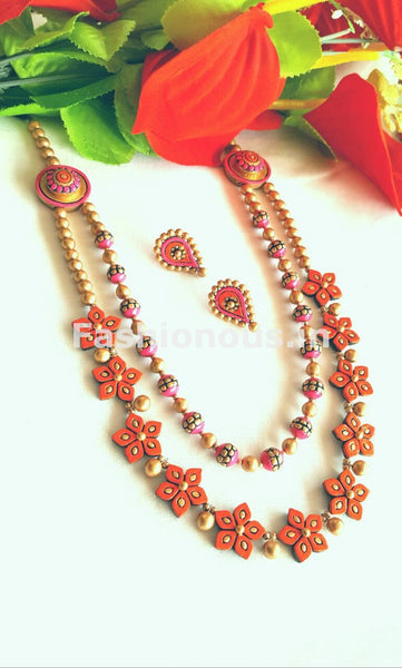 Orange Floral Design Terracotta Jewellery Set -TJS-022