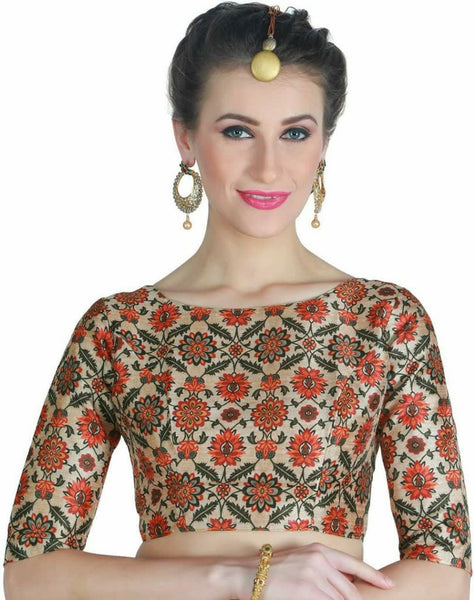 Orange Floral Digital Printed Readymade Blouse