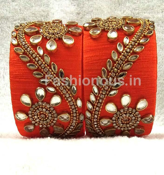 Orange Floral Stone Worked Silk Thread Bangle Pair-STJSW-015