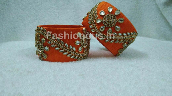 Orange Floral Stone Worked Silk Thread Bangle Pair