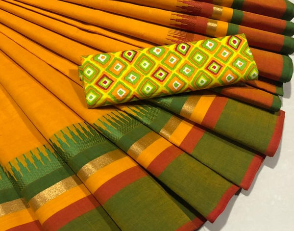 Orange Saree with Contrast Green Border