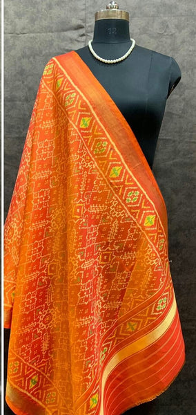 Orange Handwoven Pure Silk Patola Dupatta