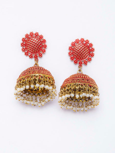 Orange Jhumka Designer Earring