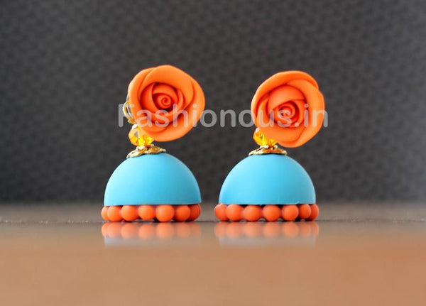 Orange Rose Floral Blue Jhumka-ZAPCJH-026