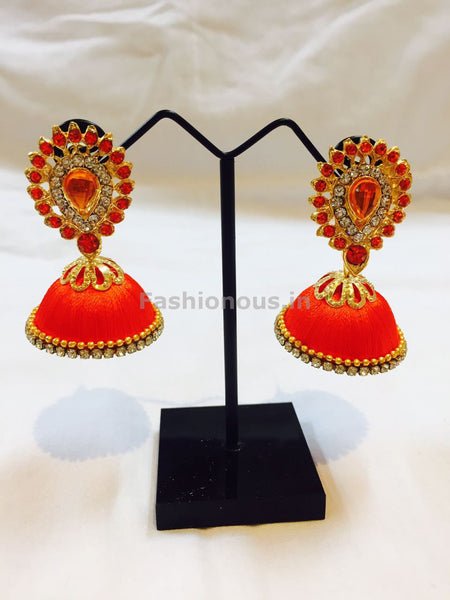 Orange Stone Studded Droplet Silk Thread Jhumkas-STJH-024