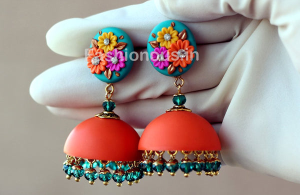 Orange Turquoise Blue Floral Jhumka-ZAPCJH-016