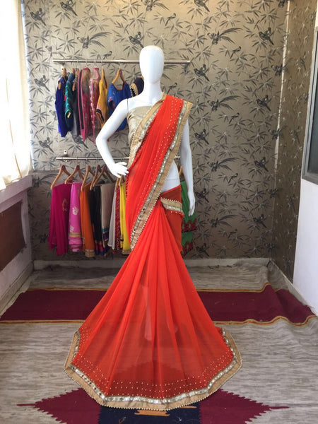 Orange and Beige Border and Blouse Georgette Designer Saree-SRE-087