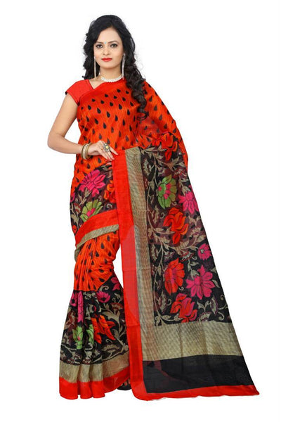 Orange and Black Floral Bhagalpuri Saree-SRE-792