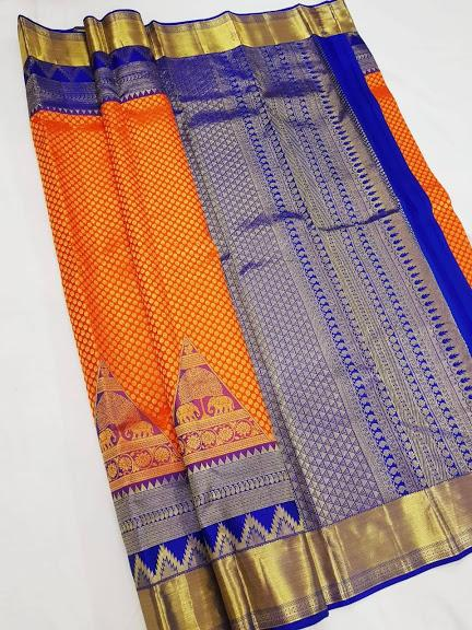Orange and Blue Kanchipuram Silk Saree KRSS 010