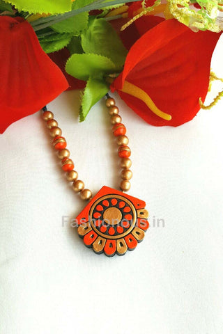 Orange and Golden Semi-Floral Terracotta Necklace-TJS-036
