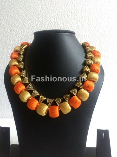 Orange and Golden Silk Thread Necklace