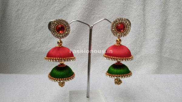 Orange and Green Double Colored Silk Thread  Jhumkas-STJH-070