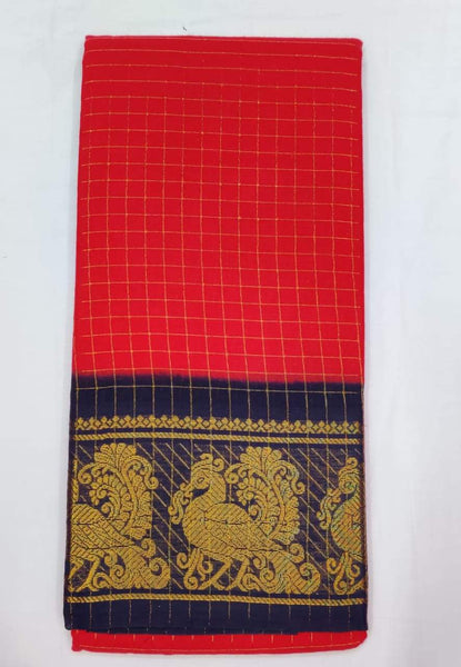 Madurai Sungudi Sarees with Double side Jari Border MSS 017