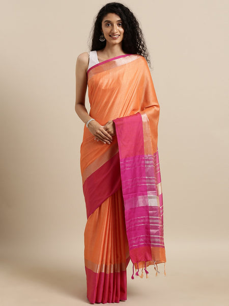 Orange and Pink Attractive Big Border Angolla Linen Saree (Blend)