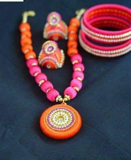 Orange and Pink Round Pendant Silk Thread Jewellery Set