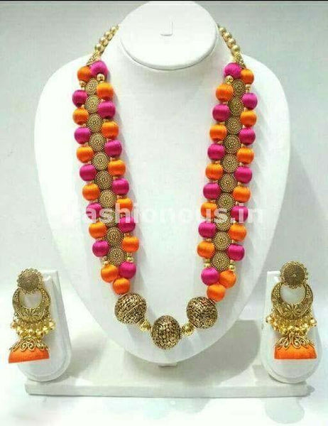 Orange and Pink Silk Balls with Antique Beaded Pendant Silk Thread Jewellery Set-STJS-050