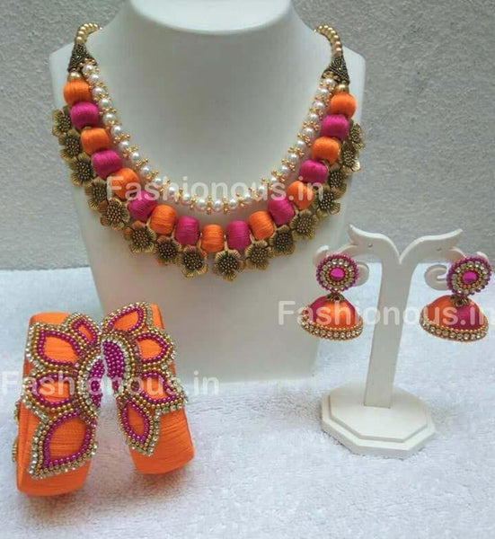 Orange and Pink Silk Balls with Floral String Silk Thread Jewellery Set-STJS-042