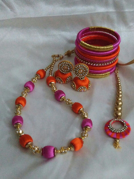 Orange and Pink Silk Thread Full Set with Mang Tikaa