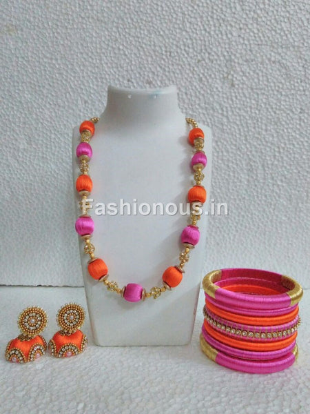 Orange and Pink Silk Thread Jewellery Set