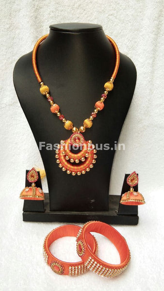 Orange and Yellow Balls  with Chandbali Pendant Silk Thread Jewellery Set-STJS-023