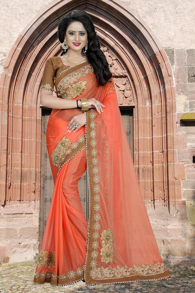 Orange colour Embroidery Patch Work Saree-SRP-GS-05