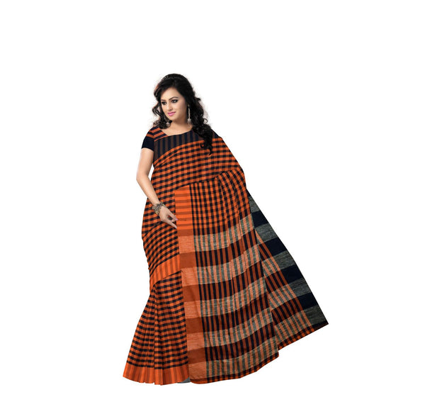 Orange with Black Checked Handwoven Cotton Saree-AJ000156