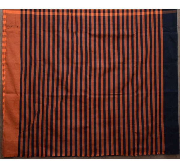 Orange with Black Checked Handwoven Cotton Saree