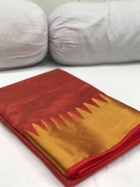 Orange with Golden Kommai Border Tussar Silk Saree-SRE-255