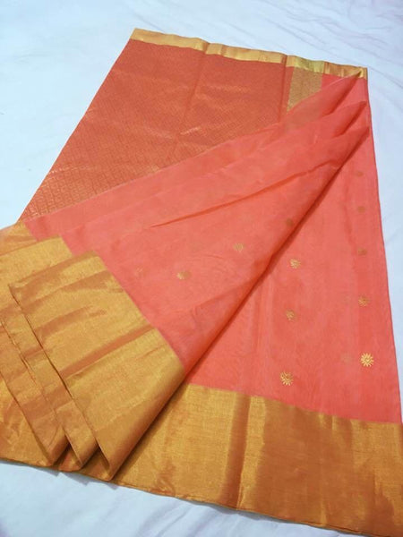 Orange with Golden Rhombus Designed Zari Border Chanderi Silk Saree-CHANSRE-049