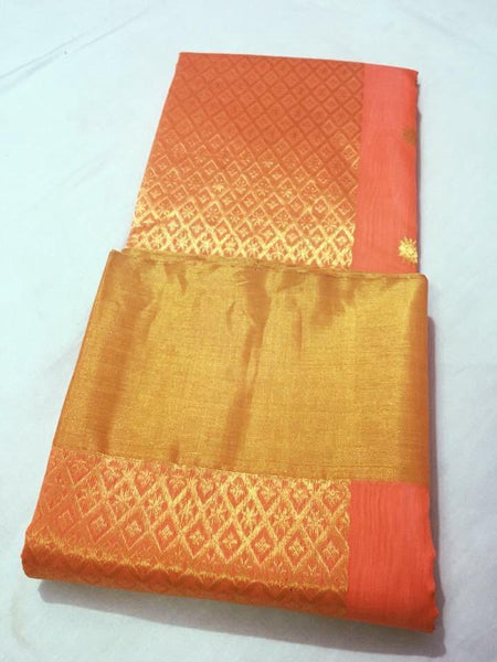 Orange with Golden Rhombus Designed Zari Border Chanderi Silk Saree