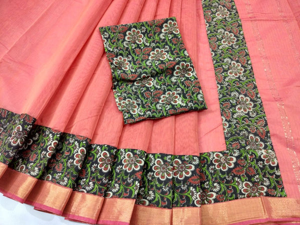 Orange with Kalamkari Blouse Kotta Mercerized Cotton Saree-SRE-807