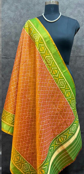 Orange with Parrot Green  Handwoven Pure Silk Patola Dupatta