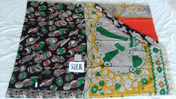 Orange with Patil Pallu Silk Kalamkari Saree-KALAMKARI-0015