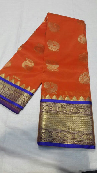 Orange with Peacock Designed Blue Border Paithani Saree-PAITHANI-040