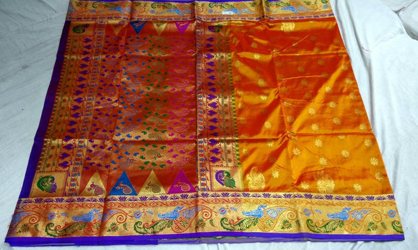 Orange with Peacock Designed Border Paithani Saree-PAITHANI-069