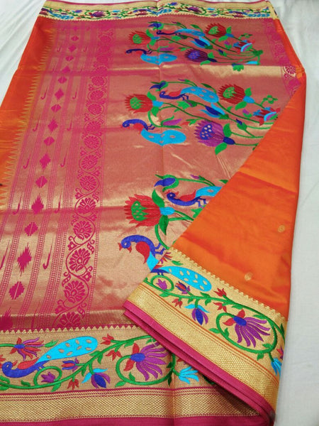 Orange with Pink Border Peacock Designed Pallu Paithani Saree-PAITHANI-078