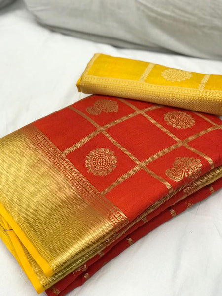 Orange with Yellow Border Banarasi Silk Saree-SRE-1098